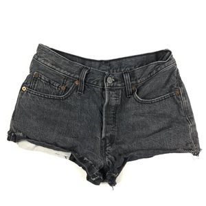 Levis 501 Button Fly Jean Cut Off Shorts Black